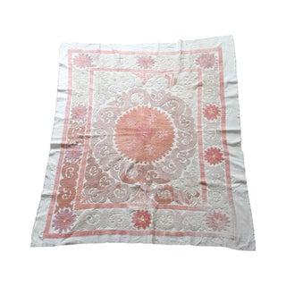 Vintage Suzani Textile - Neutral & Rare Blush Pink For Sale