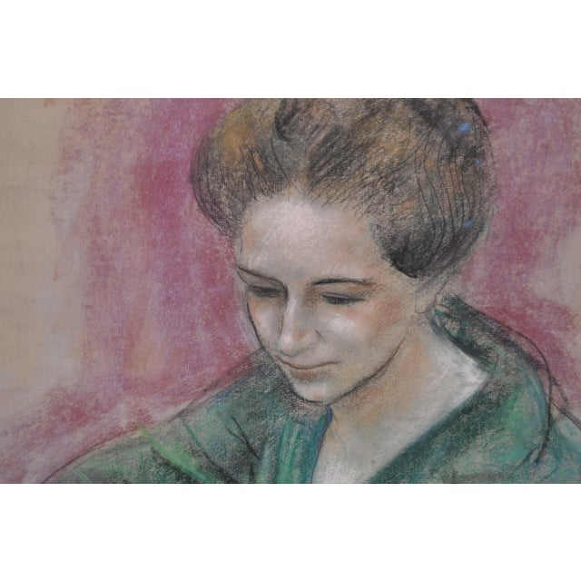 "Dan Dickey ""Woman in Green"" Vintage Pastel Portrait c.1940s For Sale - Image 4 of 6"