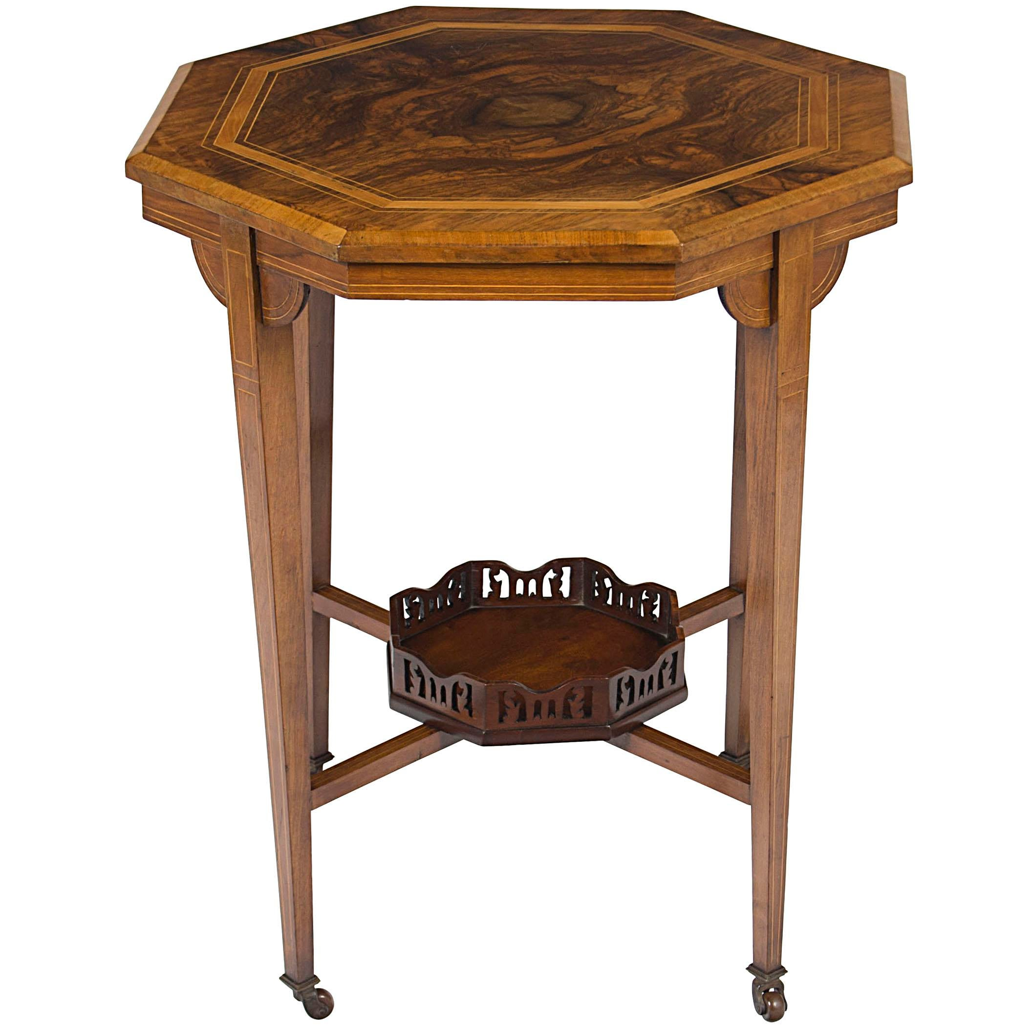 Victorian End Table Brown 1900s Victorian Inlaid Walnut Octagon Side Accent End Table For Sale  - Image 8 of