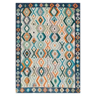 Swell in Navy Afghan Rug - 6′6″ × 9′10″ For Sale