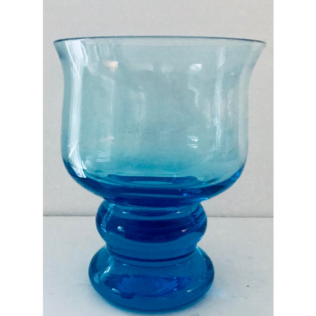 Mediterranean Vintage Hand Blown Rocks Glasses Aqua Blue Turquoise - Set of 4, (10 Available) For Sale - Image 3 of 11
