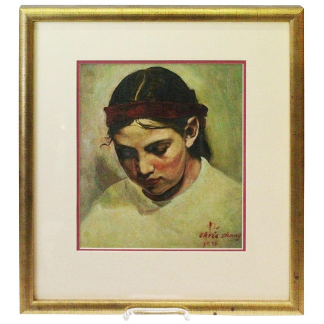 White 1970s Vintage Christopher Zhang Mimi With Red Ribbon Painting For Sale - Image 8 of 8