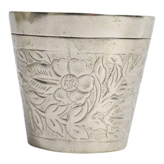 Silver Canister Container With Floral Motif