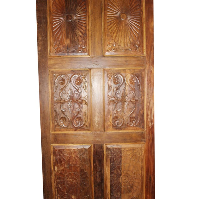 Contemporary Antique Carved Barn Door For Sale - Image 3 of 6