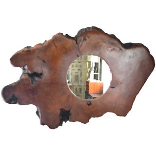 Organic Form Wood Mirror For Sale