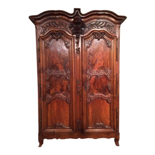 Exquisite 18th Century Country French Carved Walnut Armoire