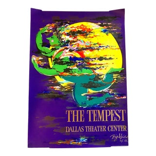 "Vintage Mid 20th C. Bjorn Wiinblad Poster-Signed-""The Tempest""-Dallas Theater-Rare For Sale"