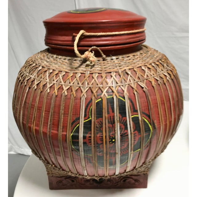Wood Early 20th Century Vintage Asian Paper Mâché Coated Rattan Storage Containers- A Pair For Sale - Image 7 of 11