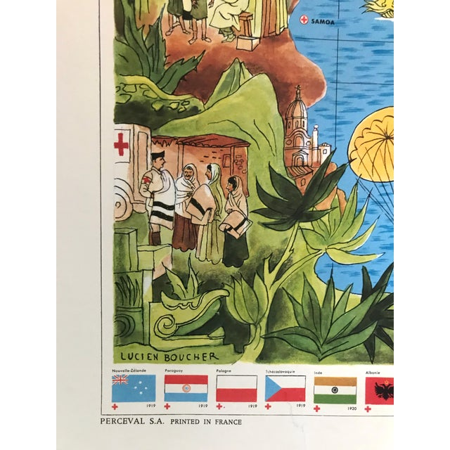 1960s 1963 Illustrated Vintage World Map, Centenary of Red Cross (Croix Rouge, 1863 - 1963) For Sale - Image 5 of 9