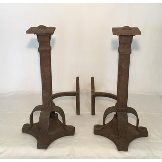 Early 20th Century Antique Hand Forged Craftsman Andirons- A Pair Preview