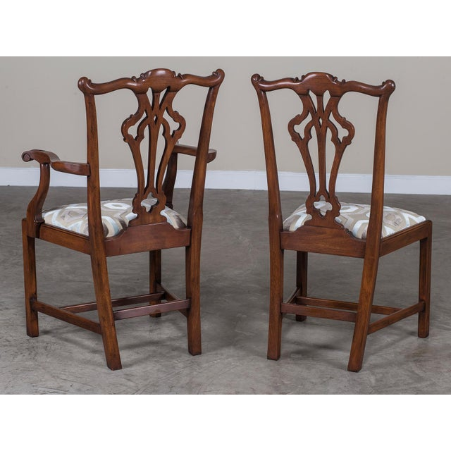 Set Eight George III Chippendale Style Mahogany Dining Chairs, Custom Stain Finish, England - Image 8 of 9