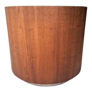 Mid-Century Drum Shape 1960s Milo Baughman Style Teak Wood Square Side Table For Sale