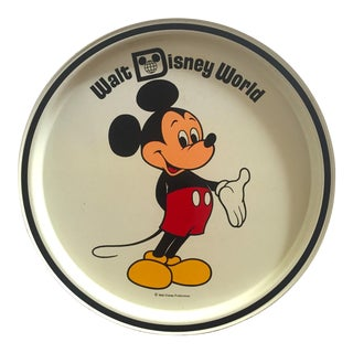Vintage Mid Century Mickey Mouse Walt Disney World Collector's Tin Enamel Round Metal Pop Art Serving Tray For Sale