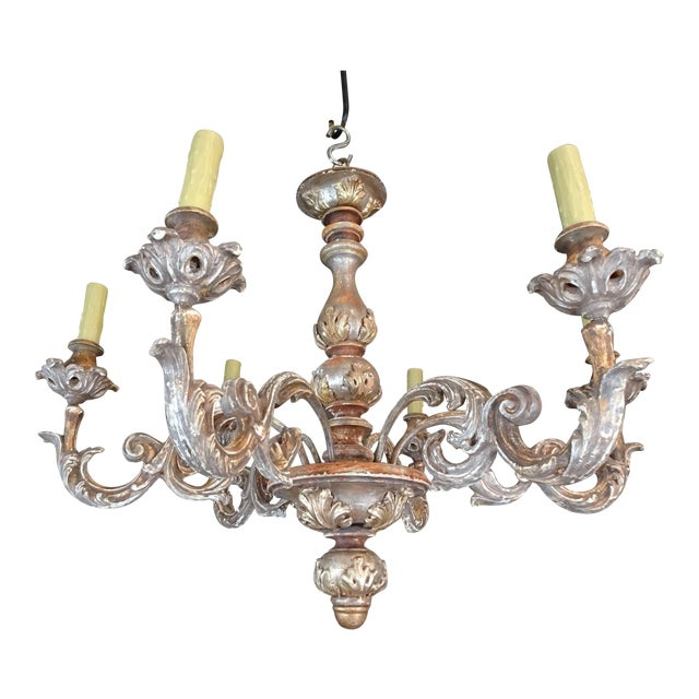 Mid-Century Italian Carved Wood Chandelier For Sale