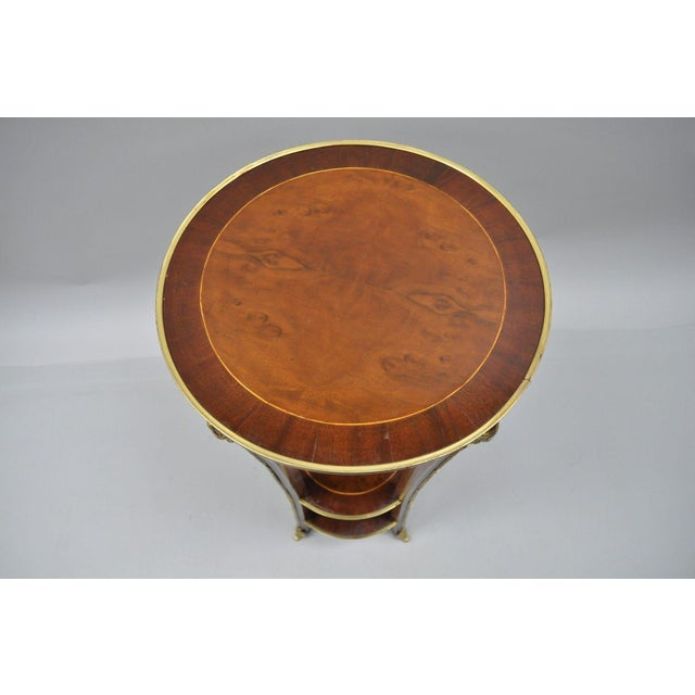 French Regency Neoclassical Style Bronze Rams Head Round Inlaid Pedestal Table For Sale - Image 4 of 12