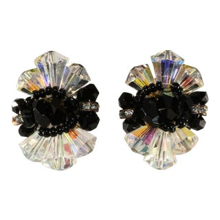 Vendome Clear and Black Crystal With Rhinestones Earrings For Sale