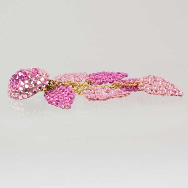 Resin Richard Kerr Oversized Dangle Pink Jeweled Clip Earrings For Sale - Image 7 of 8