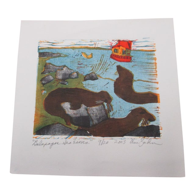 Vintage Lithograph Titled: Sea Lions Signed by the Artist: Ann Zahn For Sale