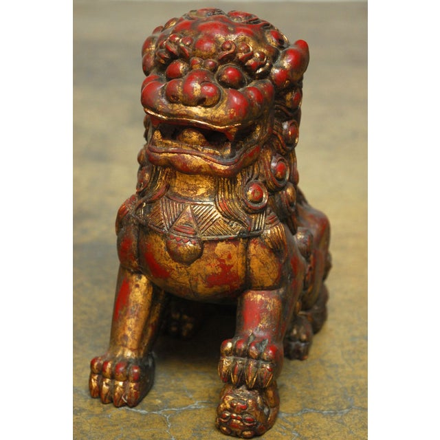 Asian Large Chinese Gilt Temple Foo Dogs - Pair For Sale - Image 3 of 7
