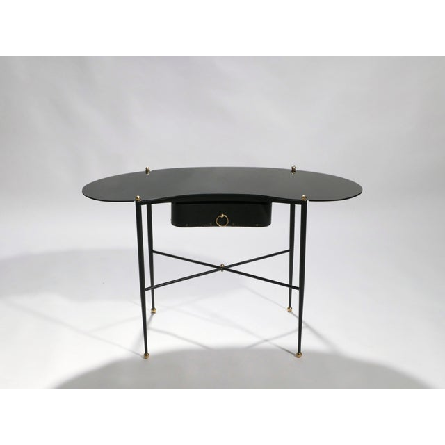 1950s Jacques Adnet Leather Desk Vanity With Stool, 1940s For Sale - Image 5 of 13