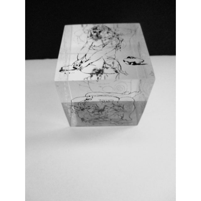 Picasso Drawings Lucite Cube Paperweight For Sale - Image 9 of 9