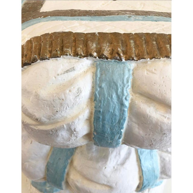 White Vintage Hollywood Regency Style Fiberglass Puffy Stacked Pillow Garden Stool With Tassel, Rope and Fringe Detials For Sale - Image 8 of 13