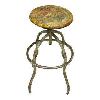 Early 20th Century Vintage Adjustable Wood & Metal Work Stool Artist Painters Drafting Swivel Chair For Sale
