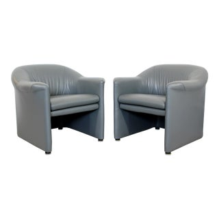 Contemporary Pair of Brayton Gray Leather Accent Lounge Arm Chairs 1990s For Sale