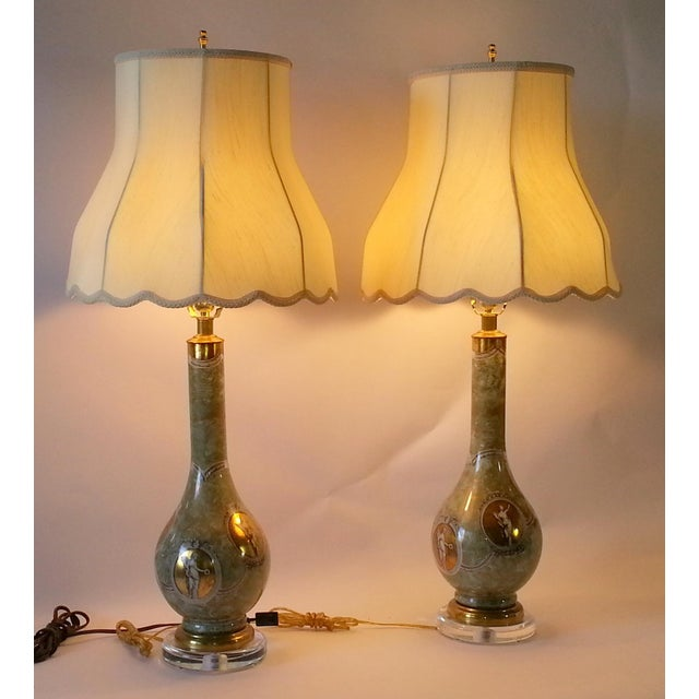 Mid-Century Table Lamps Eglomise Style - Image 6 of 11