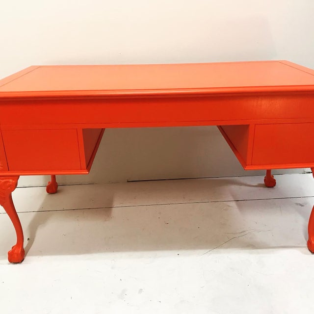 Vintage Chippendale Claw and Ball Foot Cabriole Leg Painted Partners Desk For Sale - Image 11 of 12