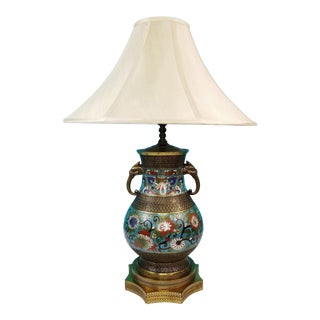 Chinese Champleve Cloisonne Bronze & Enamel Table Lamp