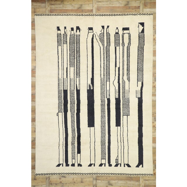 Beige Contemporary Moroccan Rug Inspired by Alberto Giacometti - 10'00 X 13'08 For Sale - Image 8 of 10