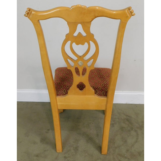 Red Lexington Solid Pine Chippendale Style Ball & Claw Carved Pair Side Chairs For Sale - Image 8 of 13
