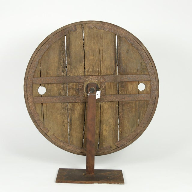 Industrial Oak And Iron Wheel, Circa 1700 On Later Iron Stand For Sale - Image 3 of 10