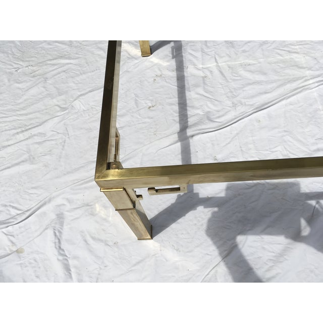 Classic styling in this square brass coffee by Mastercraft. Unlacquered brass that has been cleaned, but not...