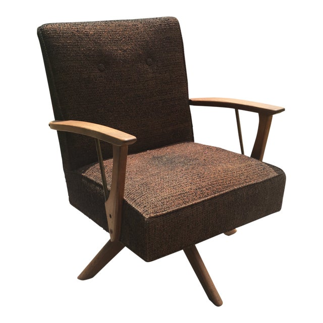 1960s Art Deco Charlotte Perriand for Paoli Swivel Arm Chair For Sale