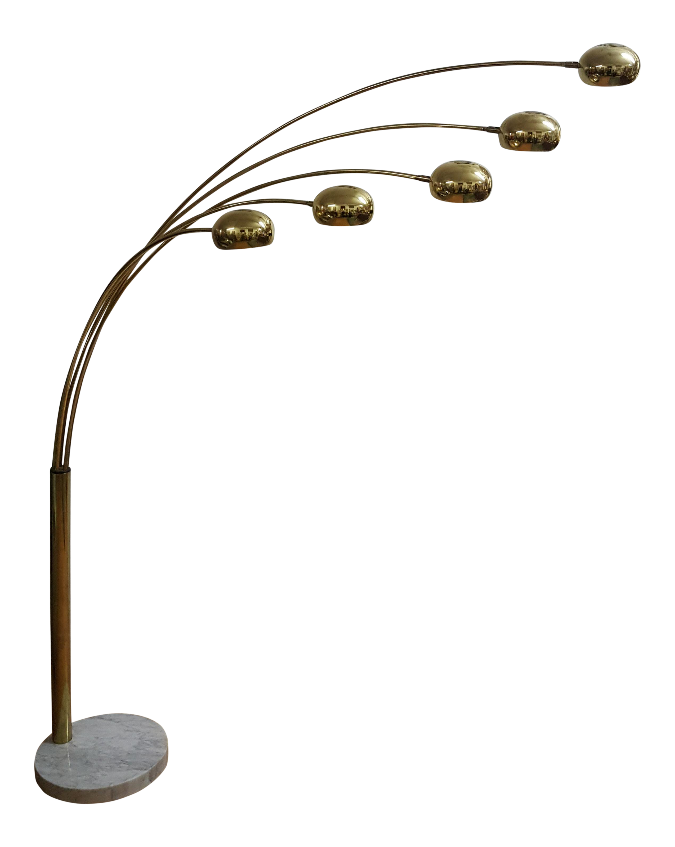 Mid Century Brass Standing 5 Arm Arc Lamp With Marble Base Chairish