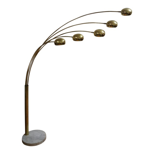 Mid Century Brass Standing 5 Arm Arc Lamp With Marble Base - Image 1 of 7