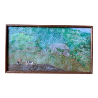 Vintage Greece Landscape Folk Art Oil Painting Signed For Sale