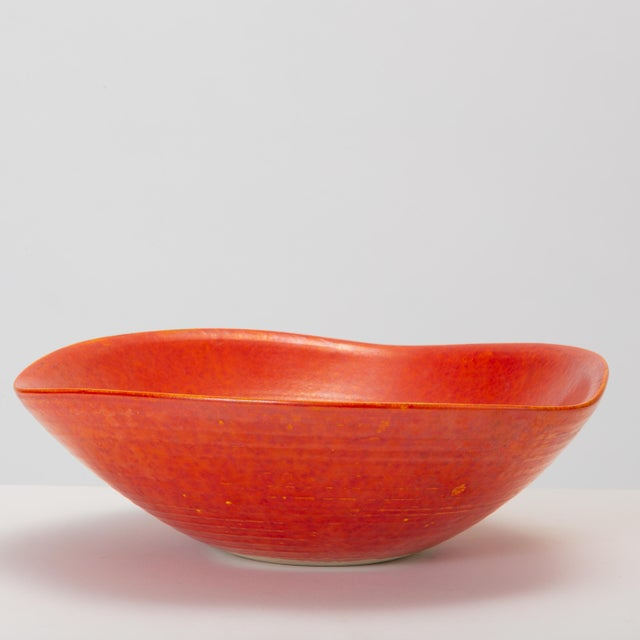 Mid-Century Modern Red Glazed Studio Pottery Bowl For Sale - Image 3 of 12