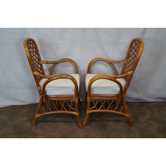 Asian South Sea Rattan Collection Glass Top Dining Set For Sale - Image 3 of 10