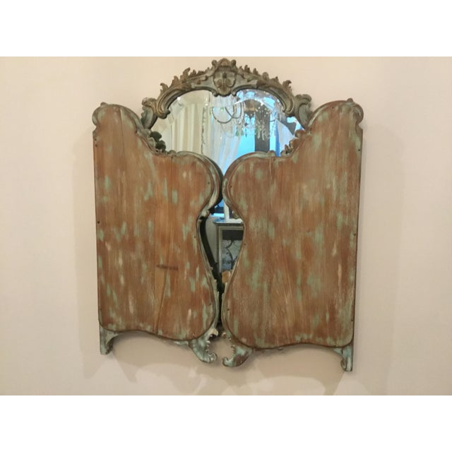 Early 21st Century Antique Wood Carved Triptych Mirror For Sale - Image 5 of 11