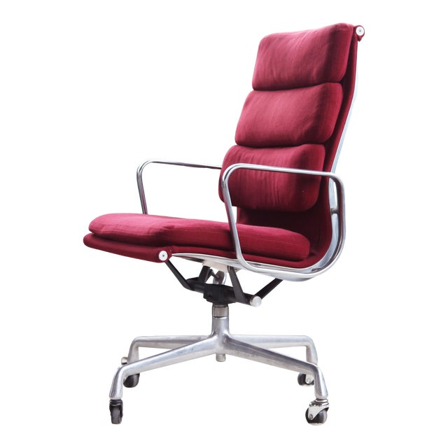 1980s Eames Herman Miller Aluminum Soft Pad Reclining Executive Office Chair For Sale