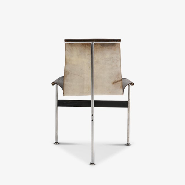 Bauhaus Mid Century Katavalos for Laverne International Steel & Leather 'T-Chair' For Sale - Image 3 of 5