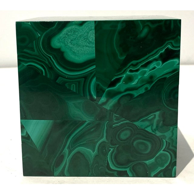Contemporary Vintage 4-Inch Malachite Cube For Sale - Image 3 of 10