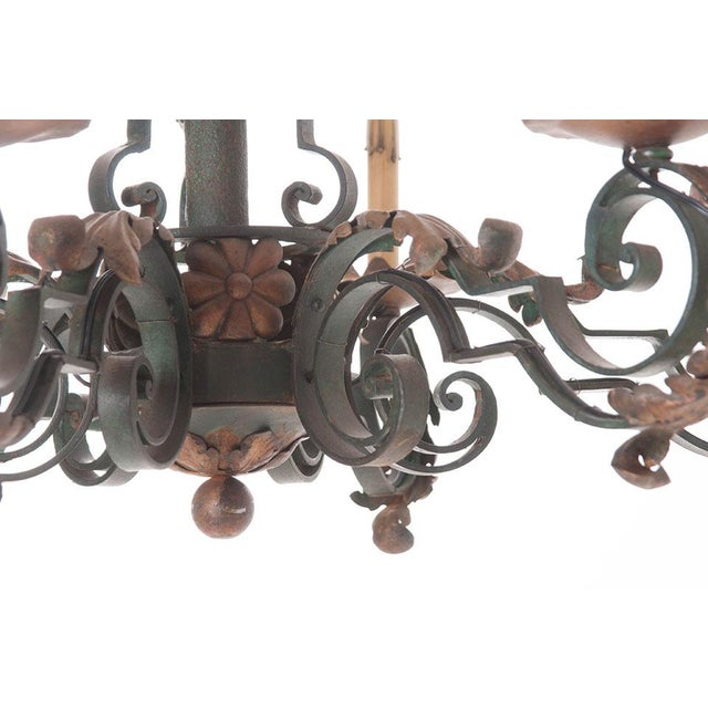 French 19th Century Painted Iron Chandelier - Image 2 of 7