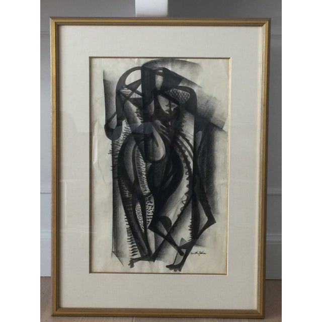 Framed Cubist Charcoal Painting - Image 8 of 8