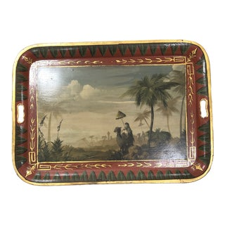 Bob Christian Middle Eastern Scene Hand Painted Tole Tray For Sale
