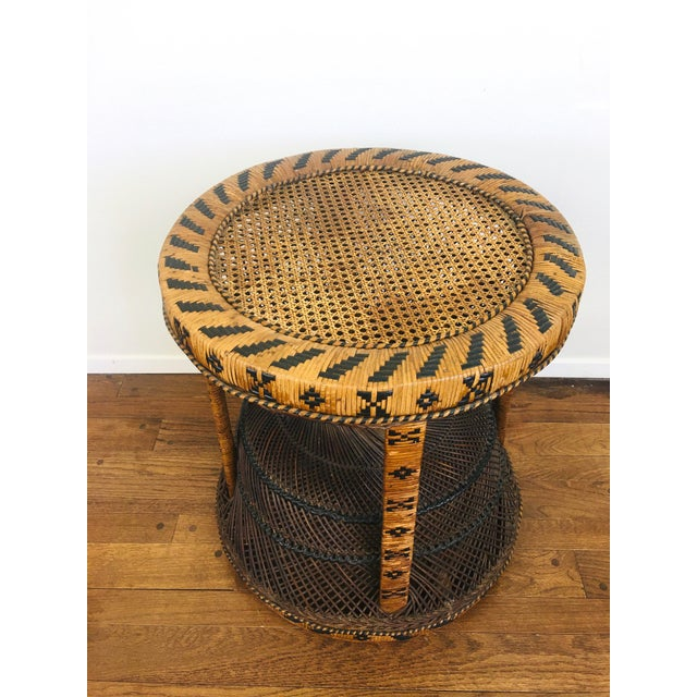 1960s Vintage Bohemian Chic Rattan / Wicker Peacock Table For Sale - Image 5 of 6