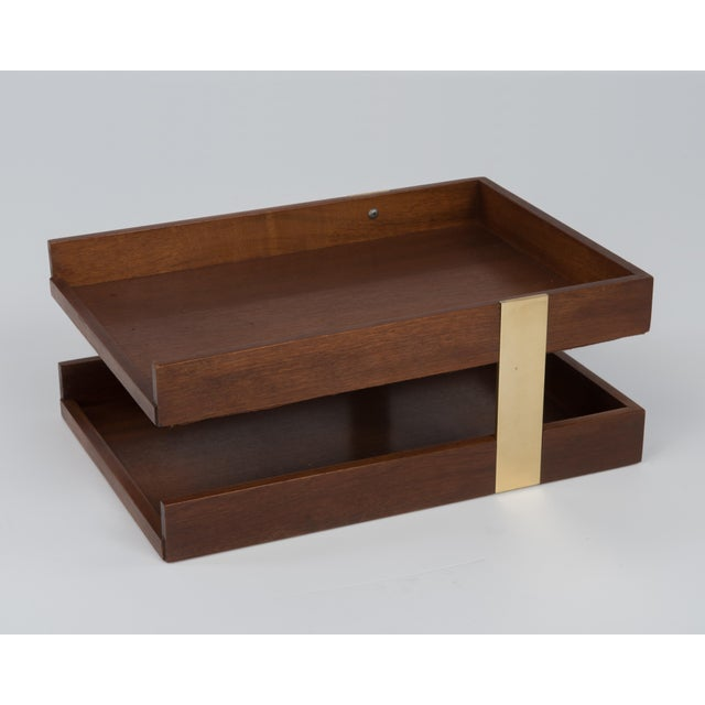 Metal Vintage Mid Century Brass Walnut Office Two Tier Letter Tray Organizer For Sale - Image 7 of 11